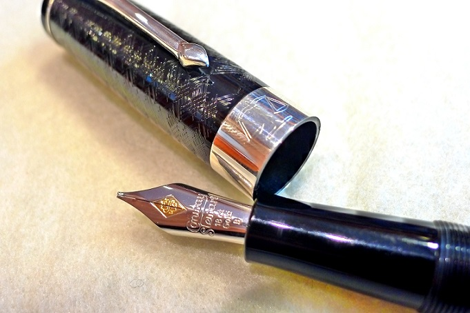 Close up view of nib on the Conway Stewart Professional Series Lawyer Fountain Pen Cap with nib display