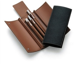 GRAFVONFABERCASTELL_DeskAccessories_Folding_Leather_Case_for_3_pens_Black_Brown