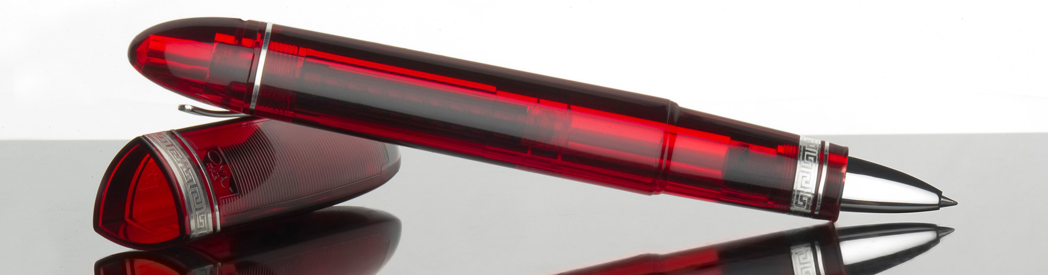 Clear red coloured Omas Limited Edition 360 Rollerball