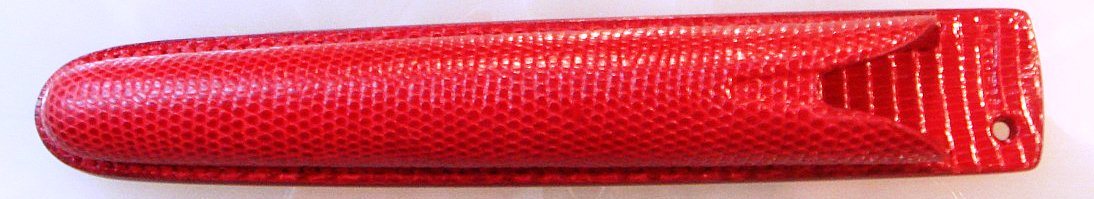 TAKUYA_Lizard_Leather_Single_Pen_Case_Matt_Maroon_Red