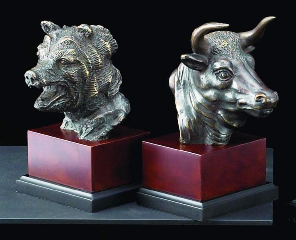 Bull And Bear Head Bookends