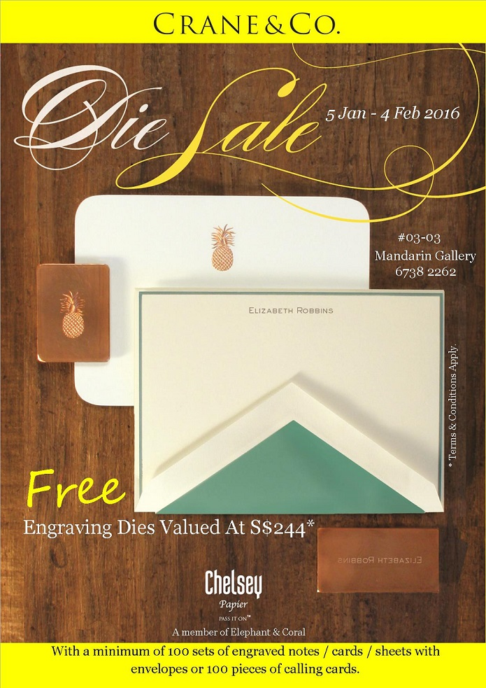 Free Copper Die Cranes Personalized Stationery Promotion