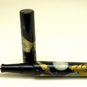 Phoenix Lacquer Art Dandelion DragonFly Pen made of mother of pearl , gold leaf