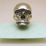 Skulls, Laughing Skulls. After Death. Pewter. Pen Holder