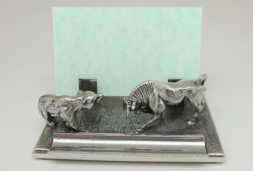 Name card holder of Bull & Bear Fight Pen Holder