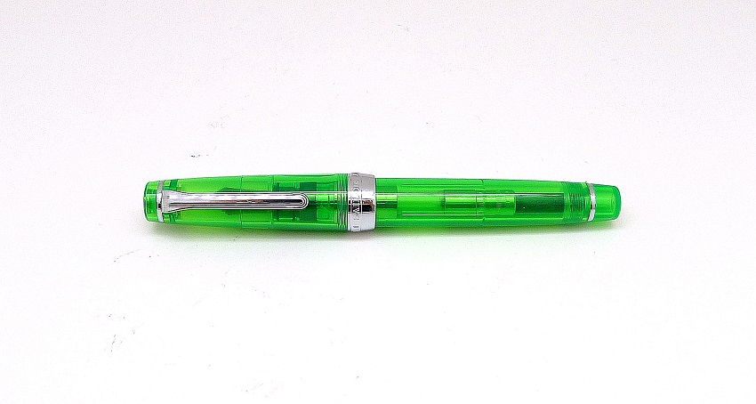 Sailor Saibi Nib fitted to Sailor Professional Gear Green Demonstrator Fountain Pen
