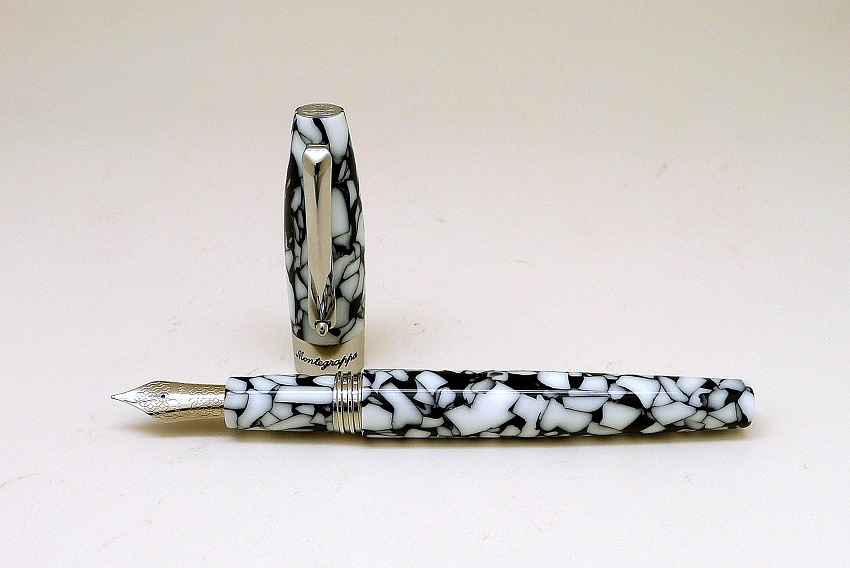 Montegrappa Fortuna Mosaico Roma Steel and White Fountain Pen Cap