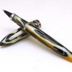Stipula Model T Pirite Gold Brown Marble Rollerball Pen