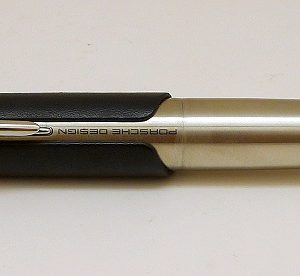 Stainless Steel with Black Leather Rollerball Pen by Porsche Design